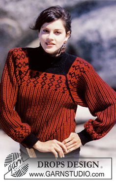 "DROPS patterned jumper with raglan sleeve in ""Karisma"". Size S - L. - Free pattern by DROPS Design"