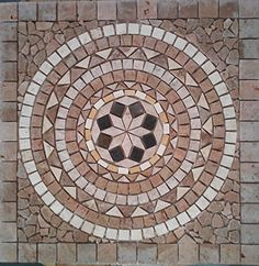 """24"""" Tumbled Travertine and Marble Indoor or Outdoor Floor or Wall Art Medallion / Mosaic By: Stone Deals Stone Deals http://www.amazon.com/dp/B012LSU8ZU/ref=cm_sw_r_pi_dp_5AcUvb0A1R57Z"""