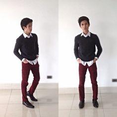 H m red dress pants