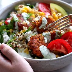 Summer Bliss Bowls with Sweet Potato Falafel and Jalapeño Ranch – you will not believe how easy this 5 ingredient falafel is! Summer Bliss Bowls with Sweet Potato Falafel and Jalapeño Ranch – you will not believe how easy this 5 ingredient falafel is! Veg Recipes, Whole Food Recipes, Vegetarian Recipes, Cooking Recipes, Healthy Recipes, Cheap Recipes, Vegan Recipes Videos, Cooking Fish, Barbecue Recipes
