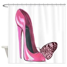 Pink Stiletto Shoe and Butterfly Art Shower Curtai by ckeenart - CafePress High Heel Quotes, Heels Quotes, Modern Shower Curtains, Red Stilettos, Christian Louboutin Heels, Stiletto Shoes, Shoe Art, Butterfly Art, Pink