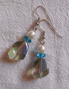 Handmade Earrings Drop Dangle Blue Green Pinch Bead Aqua Donut and Pearl Bead  #Handmade #DropDangle