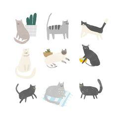 - Magic of Illustration - Katzen Art And Illustration, Illustration Inspiration, Graphic Design Illustration, Funny Paintings, Cat Background, Guache, Cat Drawing, Animal Drawings, Cat Art