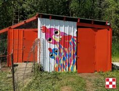"""""""Here is our fabulous chicken coop with a chicken mural painted by my mom and me. The coop is home to 15 hens, 3 roos and 12 Jersey Giant chicks in Washington state."""" – Trula M."""