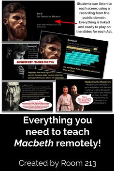 How do you teach Macbeth with distance learning? Jackie from Room 213 has got you covered, with piles of highly engaging lessons you can use to guide your students through the play - even when they aren't in front of you.