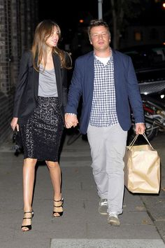 Jamie Oliver and Jools Oliver leave Gwyneth Paltrow's 40th birthday party at the River Cafe, Thames Walk in London. Oct 2012