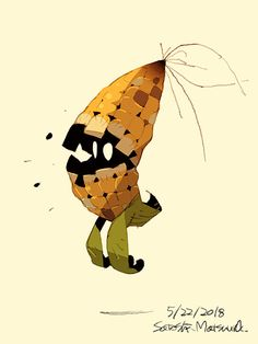 Corn Ghost, Satoshi Matsuura on ArtStation at Character Design References, Character Art, Character Illustration, Illustration Art, Desenhos Halloween, Level Design, Arte Indie, Arte Robot, Monster Design