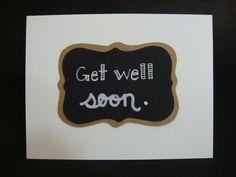 Get well soon. chalkboard card by JellybeanArtCards on Etsy