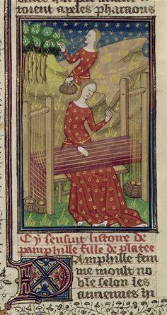 AuthorGiovanni Boccaccio TitleDe claris mulieribus in an anonymous French translation (Le livre de femmes nobles et renomées) OriginFrance, N. (Rouen) Datec. 1440 LanguageFrench Royal 16 G V   f. 54v   Pamphila