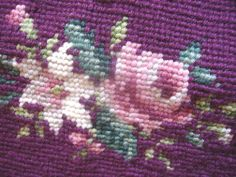 Maroon Roses NEEDLEPONT  Vintage by Quilted Nest on ETSY
