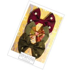 Sage and Ruby Autumn Bows - Ruby Red Pearl Embellished - Forest Green and Pink Suede Hair Bow - Rustic Gold Studded Baby Headband Bow by RosieLouBoutique on Etsy https://www.etsy.com/listing/504160684/sage-and-ruby-autumn-bows-ruby-red-pearl
