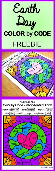 """Earth Day is on April 22nd!  Celebrate the event with your students with this free """"Color by Code"""" printable.  There are five animal groups that are classified as vertebrates.  They include mammals, reptiles, amphibians, fish, and birds.  There is one group of animals classified as invertebrates which are insects.  Students read the animal names in each section of the color by code page and determine the animal's classification.  They then color according to the key provided on the…"""