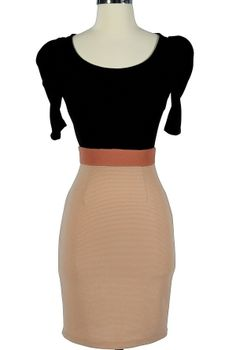 Lily's Boutique: Marilyn Black and Beige Fitted Pencil Dress - I love a cute pencil dress!