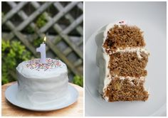 Homemade healthy Smash Cake for littles who eat healthy:) Banana Bread cake with Greek Yogurt/Honey icing! YUM Found on Hellobee.com!