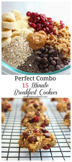 Perfect Combo 15 minute healthy breakfast cookies. #healthybreakfasts