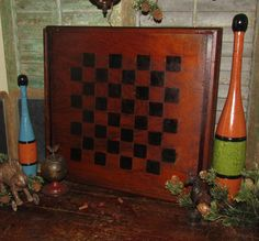 Primitive 1800s Antique Vtg Carved & Inlaid Wood Checkers Game Board Gameboard #NaivePrimitive