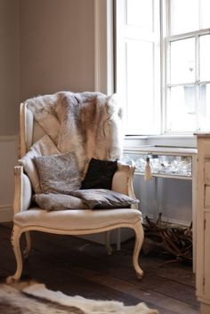 www.No21.co.uk at home dining room french chair reindeer skin -Photograph by John Arandhara-Blackwell