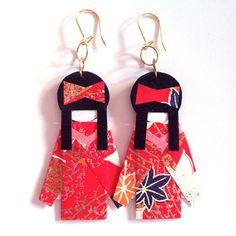 Handmade Kimono Earrings by Sicilian designers Paola and Giuliana Violante | Kimono Jewelry, more info at http://kimonojewelry.tumblr.com