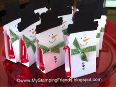 My Stamping Friends: Snowman Candy Holder using Stylin' Snowfolk from Stampin' Up! and my Big Shot