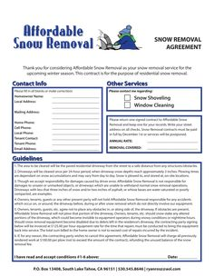 Snow Removal Contract - How to draft a Snow Removal Contract? Download this Snow Removal Contract template now! Snow Removal Contract, Snow Removal Services, Lawn Care Business, Shoveling Snow, Signed Contract, Flyer Free, Lawn And Landscape, Tree Care, Snow Plow