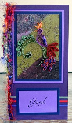 Quilled Jacobean Bird Card by all things paper - I like the way this card is finished