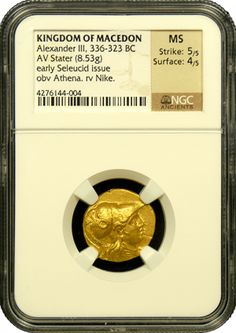 Kingdom Of Macedon, Alexander III, Gold Stater, early Seleucid issue, NGC, Mint State, Strike 5, Surface 4 - Kingdom Of Macedon, Alexander III, Gold Stater, early Seleucid issue, NGC, Mint State, Strike 5, Surface 4 - This is a mint condition gold stater from the time of Alexander the Great. The obverse portrays Athena, the goddess of war and the reverse shows Nike, the goddess of Victory. It has razor sharp details with excellent eye appeal. Find more coins like this at…