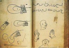 """This is 7th Ottoman Sultan Fatih Sultan Mehmed's childhood book./ Fatih Sultan Mehmed'in çocukluk defteri,Ord.Prof.Dr.Süheyl Ünver tarafından 1940'lara doğru Topkapı Sarayı Müzesi Hazine Kütüphanesi'nde keşfedilmiştir,uzun süre Topkapı arşivinde bekletilmiştir.Süheyl hoca uzun tetkiklerin ardından nihayet 1961 yılında bu defteri """"Fatih'in çocukluk defteri""""adlı bir çalışma ile ilan etmiş"""
