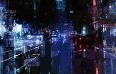 New Cityscapes Oil Paintings by Jeremy Mann  Painter Jeremy Mann comes back with cityscapes new paintings at dawn and dusk. With oil paint he paints blurred textured misty and lined streets playing with the night lights and the citys reflections. He will be exhibited at the John Pence Gallery in San Francisco from the 3rd June to the 9th July.          #xemtvhay