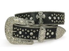 Western Rhinestone Silver Circle Studs and Cross Decoration Genuine Leather Belt $79.99