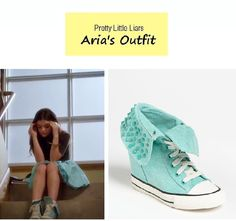 "On the blog: Aria's (Lucy Hale) mint embellished wedge sneakers| Pretty Little Liars - ""Under the Gun!"" (Ep. 406) #pll #tvfashion #outfits #fashion Pretty Little Liars Aria, Pretty Little Liars Outfits, Fashion Tv, Fashion Killa, Fashion Beauty, Aria Style, My Style, Me Too Shoes, Outfit"