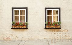 February 2016 calendar featuring a pair of charming windows in old Quebec City. Download yours for your desktop wallpaper.