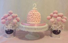 Light Pink Ruffle Smash Cake and cake pop arrangements