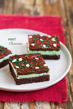 Mint Brownies (aka Grasshopper Brownies or Creme de Menthe Brownies) ~ The brownie itself is deliciously fudgy with just the right amount of chewiness, and then it's covered with a creamy mint frosting that has just a hint of tang (thanks to the cream cheese) and it's finished with a velvety smooth layer of semi-sweet chocolate (to help balance out the sweetness of the frosting) ~ it all equal to a Brownie perfection!