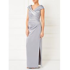 Buy Jacques Vert Lorcan Bardot Cross Front Maxi Dress, Light Grey Online at johnlewis.com