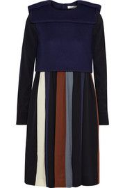 Chloé Stretch-wool and striped silk crepe de chine dress