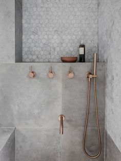 Rethinking the Shower Niche (& Why I Think The Ledge Is Next) Rose Gold Bathroom Faucet! The post Rethinking the Shower Niche (& Why I Think The Ledge Is Next) appeared first on Badezimmer ideen. Gold Bathroom Faucet, Bathroom Renos, Small Bathroom, Bathroom Remodeling, Bathroom Ideas, Remodeling Ideas, Cement Bathroom, Master Bathroom, Bathroom Inspo