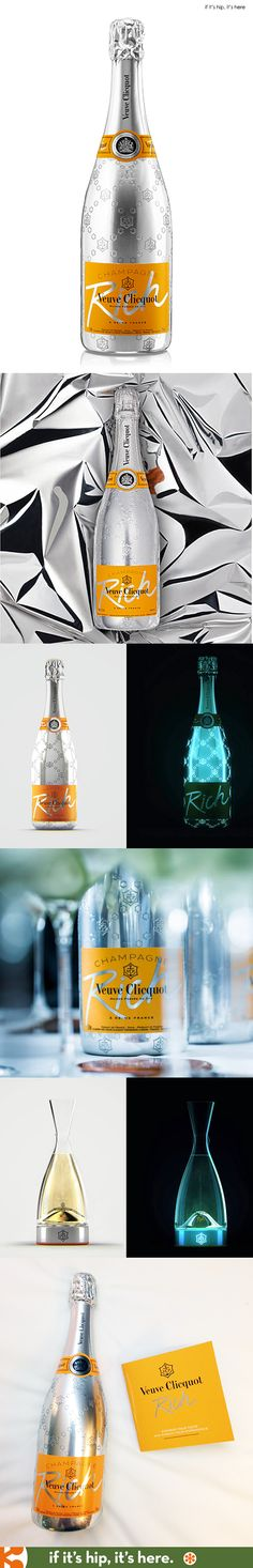 Veuve Clicquot RICH is a new champagne dedicated to mixology. RICH invites you to experiment according to your own tastes and customize your champagne experience, adding ice cubes and selected ingredients to your wine! Wine Label Design, Bottle Design, Champagne Brands, Beer Photos, Canti, Veuve Clicquot, Beverage Packaging, In Vino Veritas, Cocktail Making