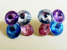 VTG Pink Blue & Clear Crystal Acrylic Rivoli Rhinestone Cluster Earrings | eBay