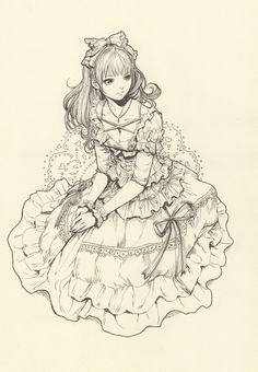 lolita, sketch, lineart, cute, art