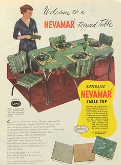1950s dinette set ad - green kitchen dining decor, metal kitchen table and chairs, vintage, vinyl chairs, mid-century dinner table on Etsy, $8.00