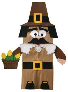 Thanksgiving Pilgrim boy paperbag puppet craft. (There's also a girl pilgrim that goes with him.).