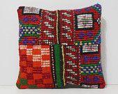 patchwork chair cushion 16x16 DECOLIC outdoor decorative pillow unusual cushion knitted cushion nautical pillow red 15424 kilim pillow 40x40