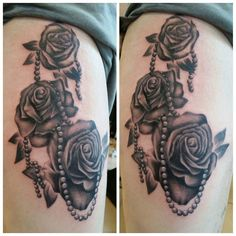 Some great roses and pearls by @tattoosbykryss 07596237438 or worcestertattoostudio@hotmail.co.uk for booking information