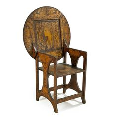 Pine + leather chair/table, feat. PYROGRAPHY details of Mucha's 'Zodiac', c.1908