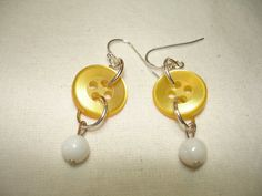 BUTTON EARRINGS - Dangle Button Earrings - YELLOW- white. $8.00, via Etsy.
