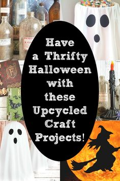 Have a very thrifty Halloween with these upcycling ideas and thrift store makeovers that have a spooky look! There are SO many possibilities for creating repurposed Halloween decor, from cutesy to creepy, and they all start at the thrift store. This collection of ghosts, jack-o-lanterns, potion bottles, and more will surely inpsire you to create thrifty decor this Halloween season! #DIYHalloween #Halloweendecor #Halloweendecorations #thriftyHalloween #thriftstoreHalloween #Halloweencrafts Halloween Sewing, Halloween Projects, Diy Craft Projects, Diy Crafts, Recycling Projects, Halloween Ideas, Project Ideas, Upcycled Crafts, Repurposed