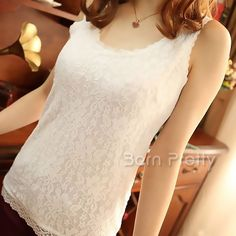 $7.58 White Lace Flower Design Vest Top Bottoming Shirt Fashion Sexy Lace Sleeveless Vest - BornPrettyStore.com