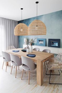 Discover recipes, home ideas, style inspiration and other ideas to try. Dining Room Design, Dining Room Table, Light Wood Dining Table, Dining Room Curtains, Gray Curtains, Balinese Decor, Dining Room Inspiration, Dinning Room Ideas, Dining Room Lighting