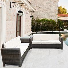 Luxurygarden Afef Corner Sofas in Synthetic Rattan Garden Furniture