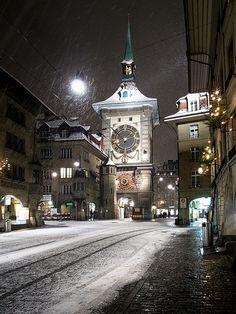 Snowy and windy Zytglogge tower in Bern.,Switzerland